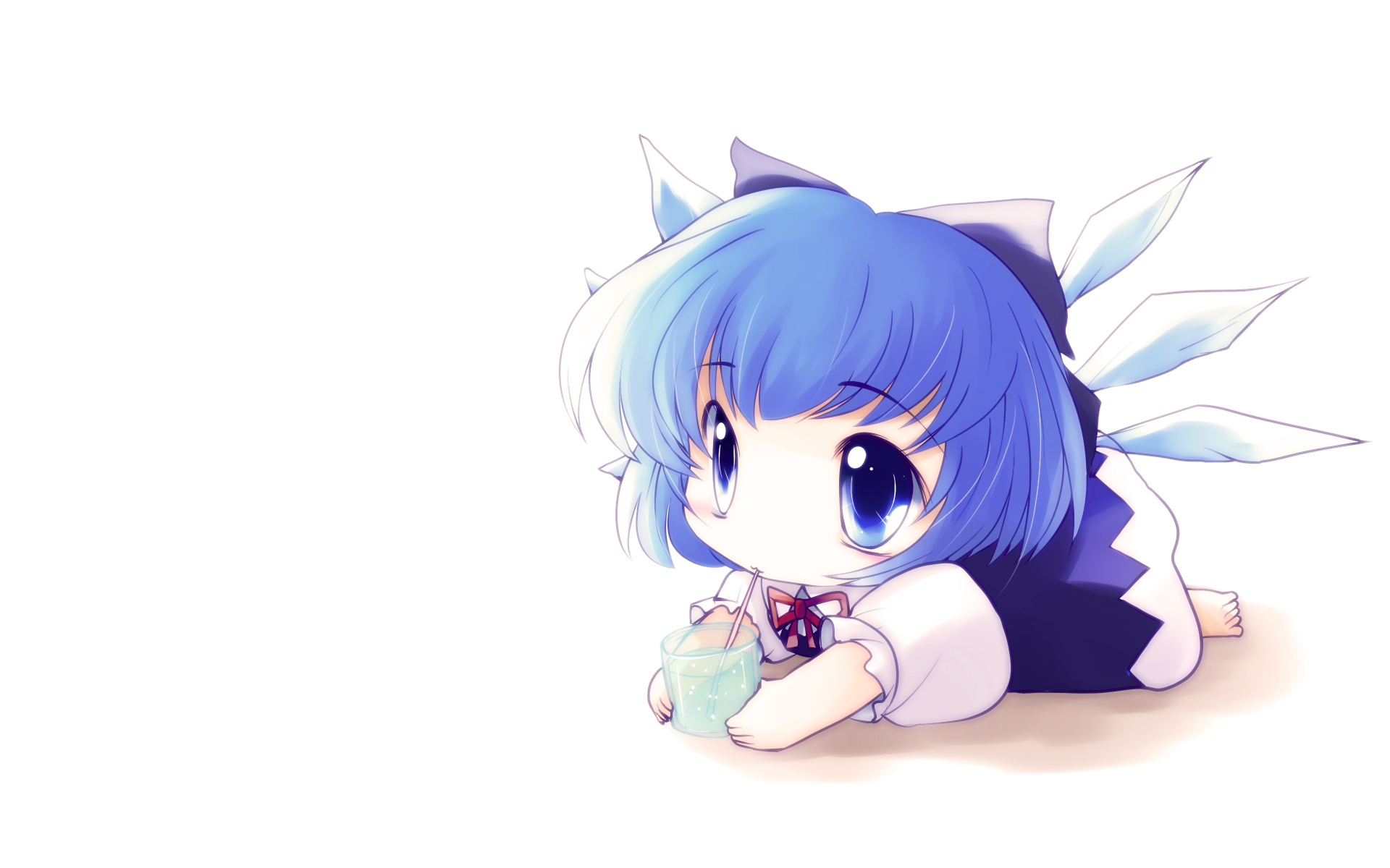 Anime Cat With Wings blue eyes blue hair cat smile chibi cirno drink fairy