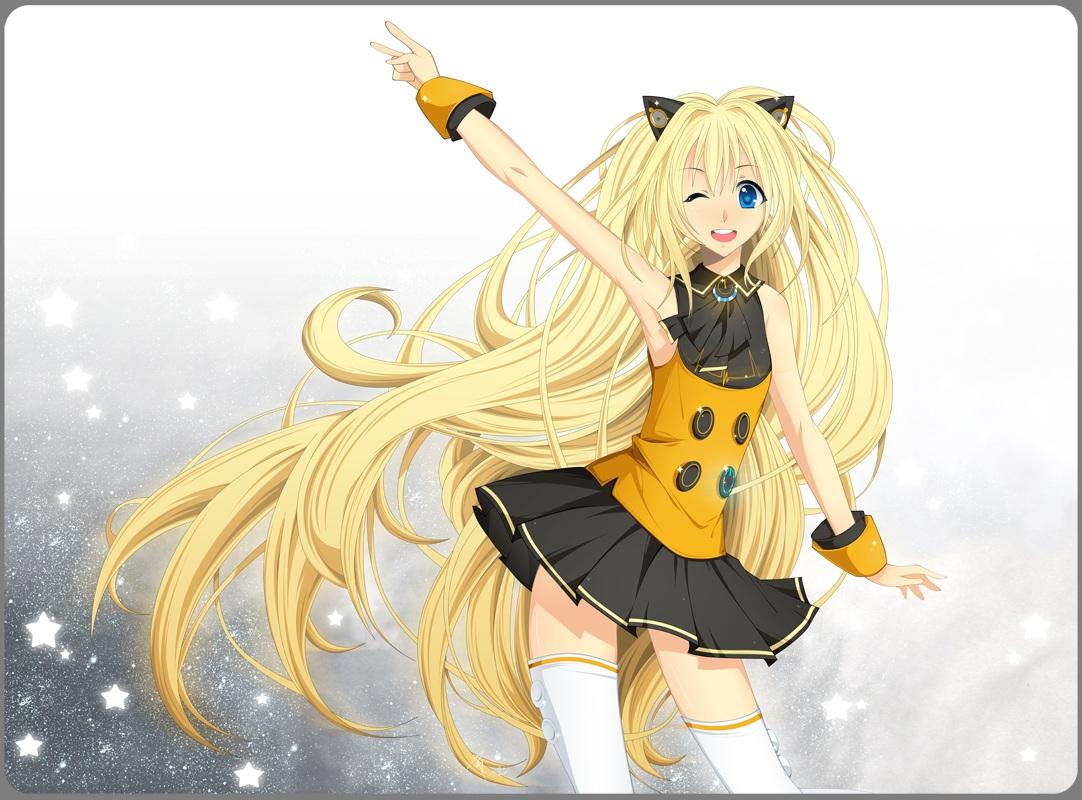 animal_ears blonde_hair blue_eyes ledogawa long_hair seeu skirt thighhighs vocaloid wink wristwear