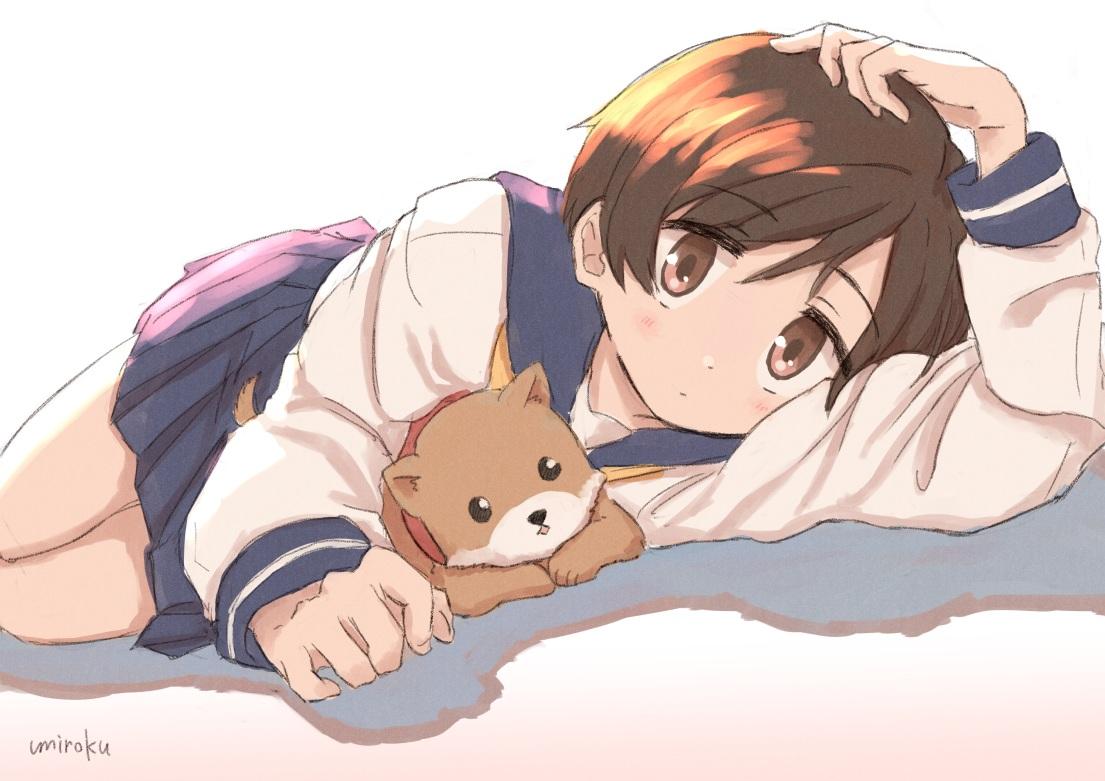 animal blush brown_eyes brown_hair dog gradient hasegawa_fumi school_uniform short_hair signed skirt umiroku yuyushiki
