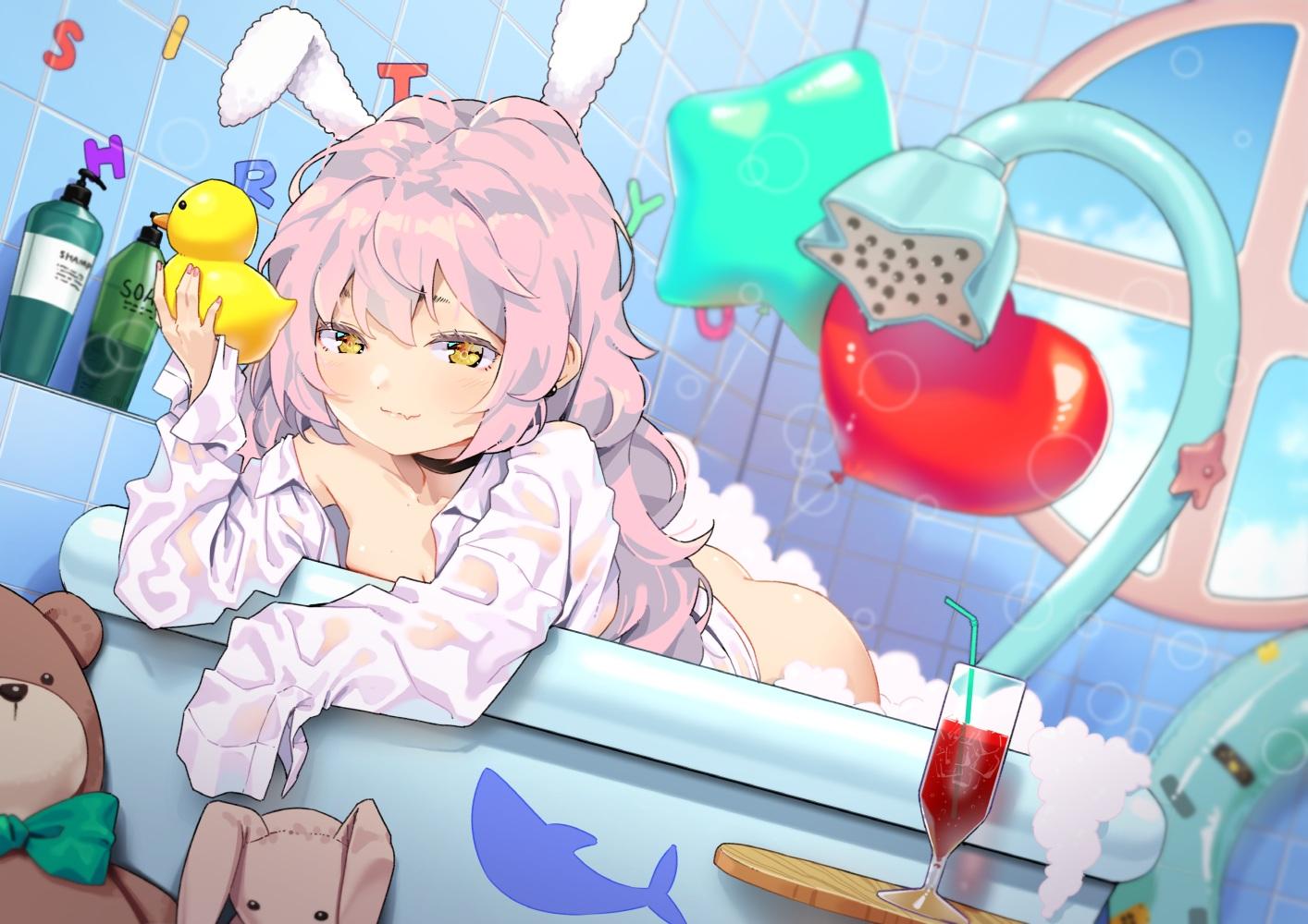 agnamore animal_ears anthropomorphism ass bath bathtub blue_oath bunny bunny_ears drink loli nopan open_shirt rubber_duck teddy_bear yuudachi_(blue_oath)