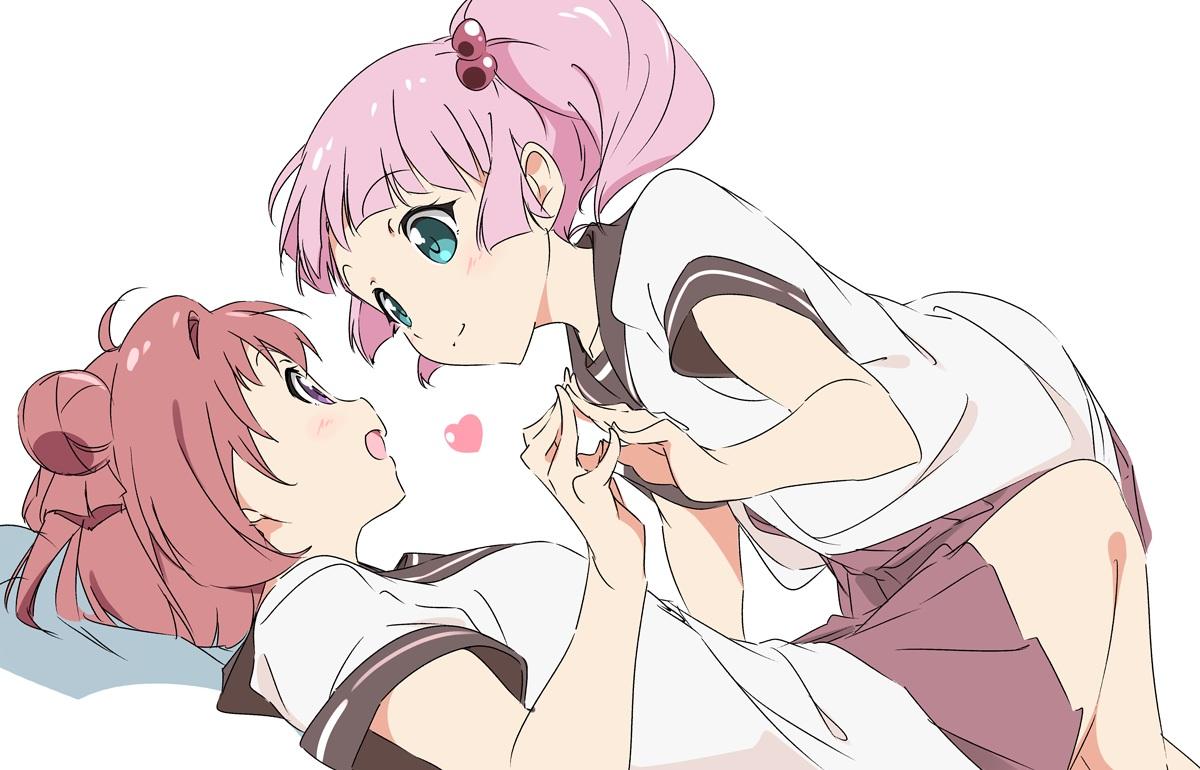2girls akaza_akari aqua_eyes heart pink_hair purple_eyes red_hair school_uniform short_hair shoujo_ai skirt twintails umanosuke yoshikawa_chinatsu yuru_yuri