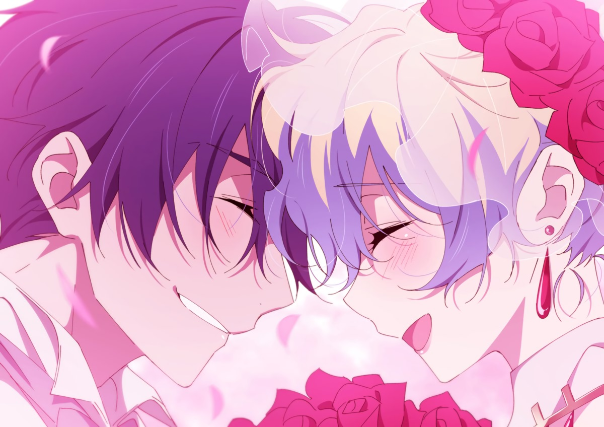 black_hair blush close flowers gray_hair male nia_teppelin ntend short_hair simon tengen_toppa_gurren_lagann wedding