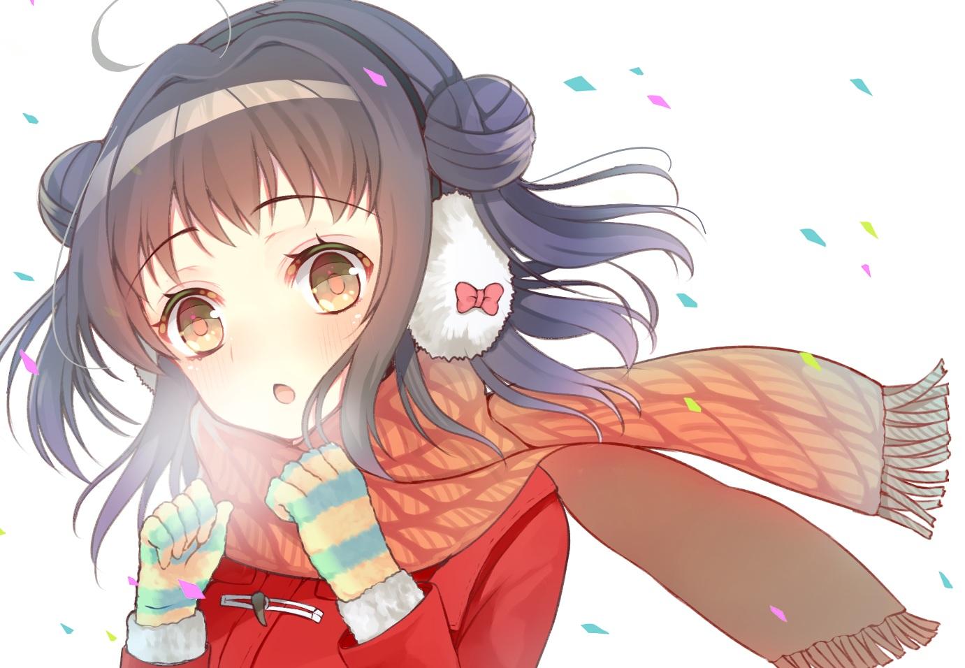 anthropomorphism aozora_nan earmuffs gloves kantai_collection naka_(kancolle) scarf