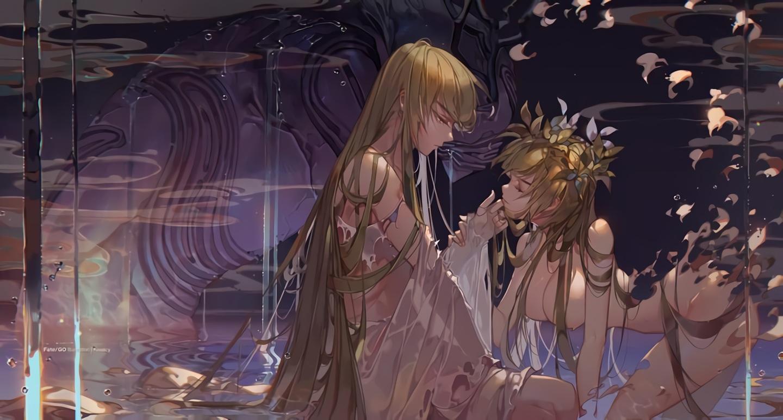 blonde_hair breasts enkidu fate/grand_order fate_(series) headdress kawacy long_hair male nude shamhat waifu2x water watermark