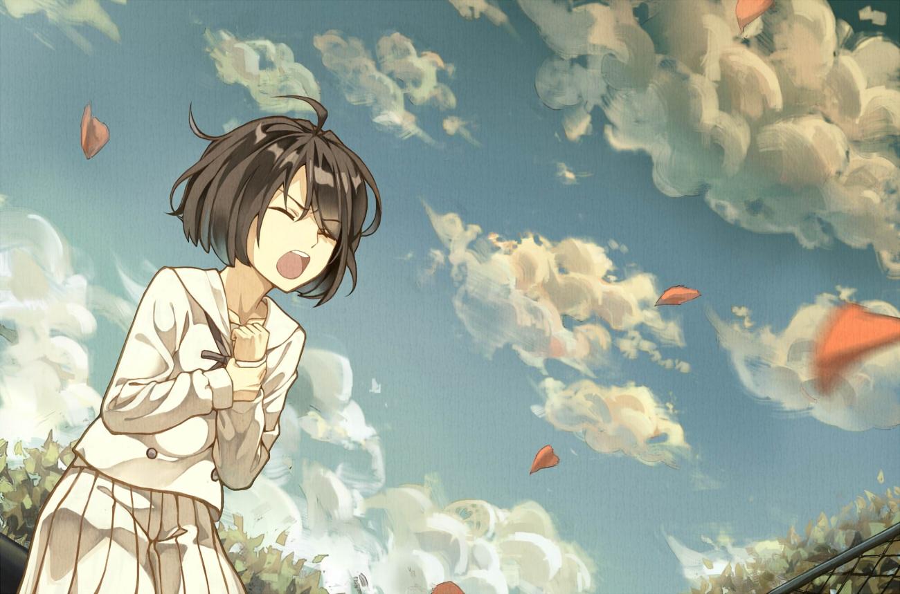 black_hair cheese_kang clouds kokoro_ga_sakebitagatterunda. naruse_jun school_uniform short_hair sky
