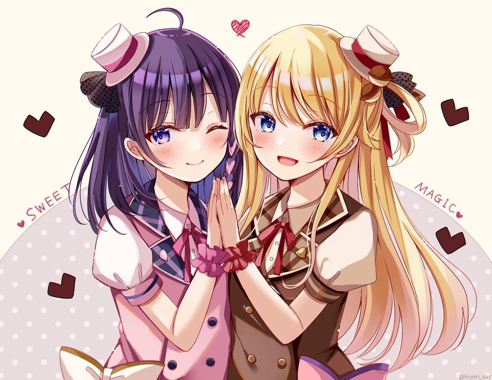 2girls blonde_hair blue_eyes blush bow chocolate hat heart long_hair purple_eyes purple_hair ribbons sakura_hiyori short_hair suzuka_stella tagme_(character) uniform wink wristwear
