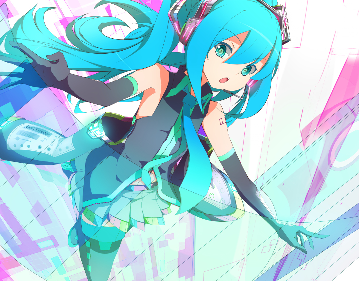 amder blue_eyes blue_hair elbow_gloves hatsune_miku long_hair thighhighs tie twintails vocaloid