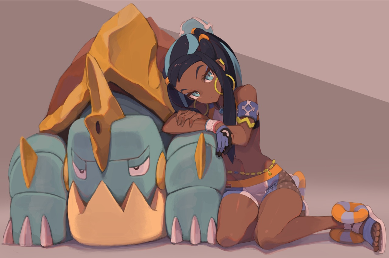 aqua_eyes black_hair dark_skin drednaw gloves long_hair navel pokemon rurina_(pokemon) shorts tomioka_jirou wristwear