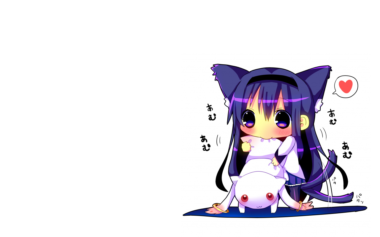 akemi_homura animal_ears blush cat_smile catgirl chibi hina_hina kyuubee long_hair mahou_shoujo_madoka_magica purple_eyes purple_hair red_eyes tail white
