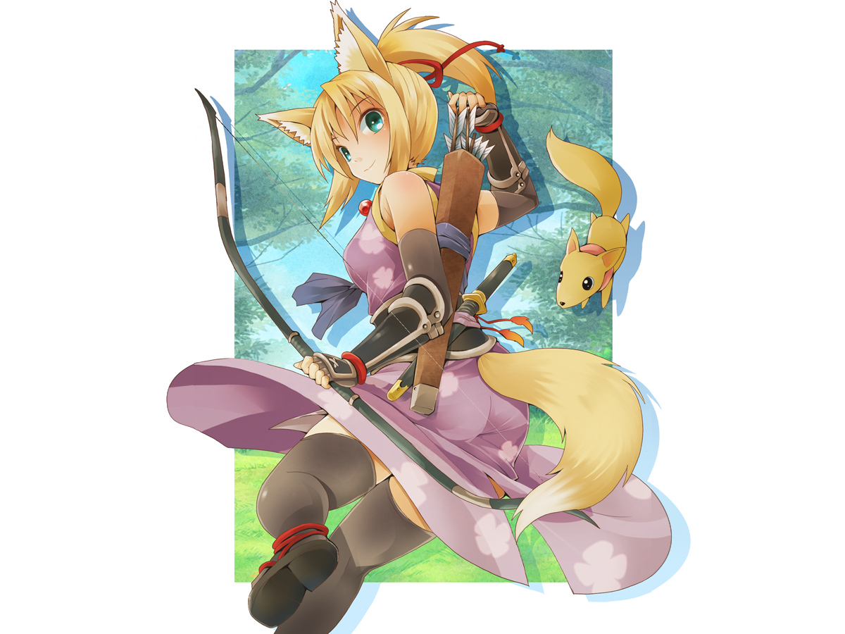 animal animal_ears blonde_hair bow_(weapon) dog_days elbow_gloves forest fox foxgirl gloves green_eyes necklace ninja ponytail ribbons tail thighhighs tree weapon yukikaze_panettone