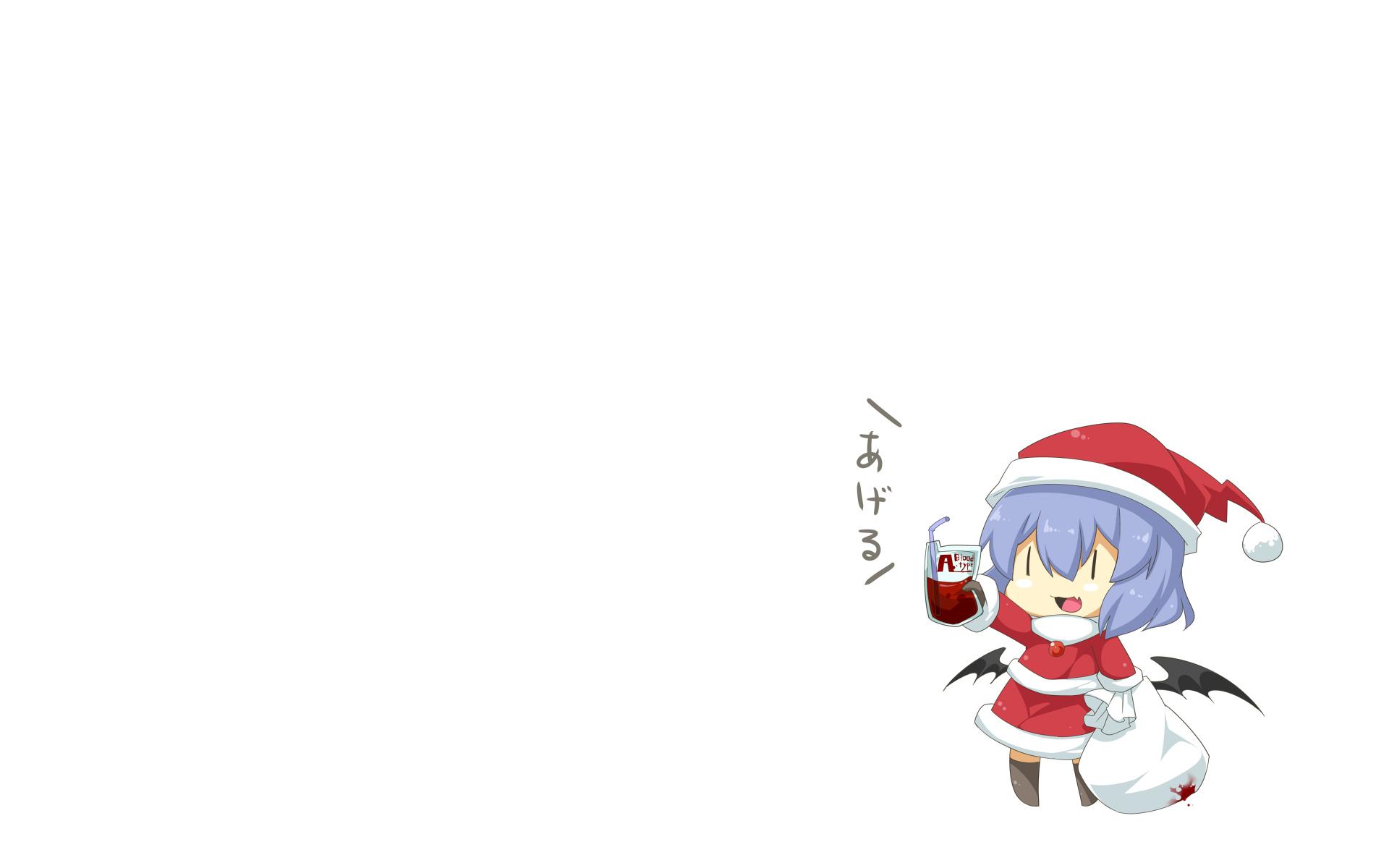 blood chibi christmas fang haipa_okara hat remilia_scarlet santa_costume santa_hat touhou vampire white wings