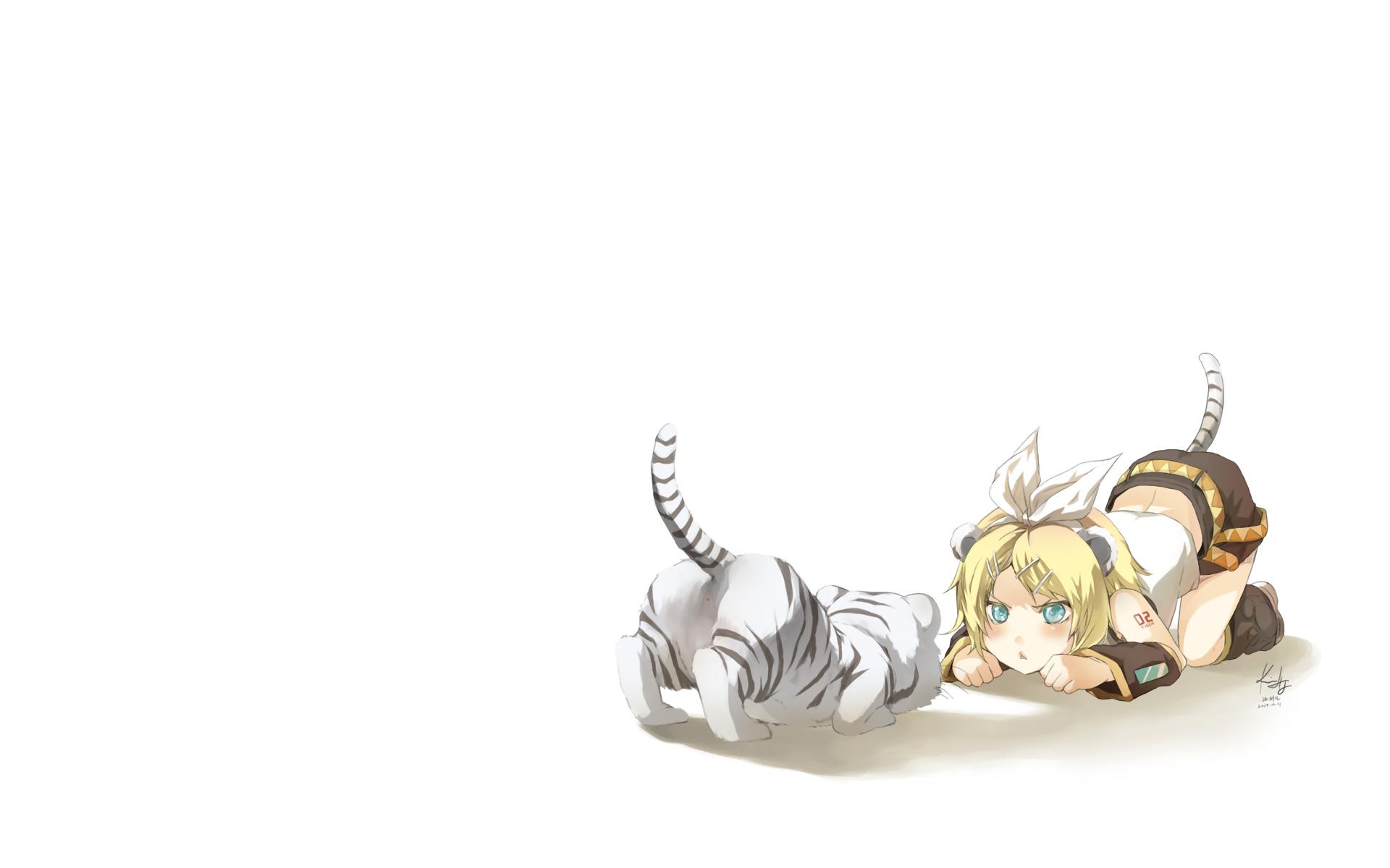 animal kagamine_rin rahwia ribbons short_hair tail tiger vocaloid white