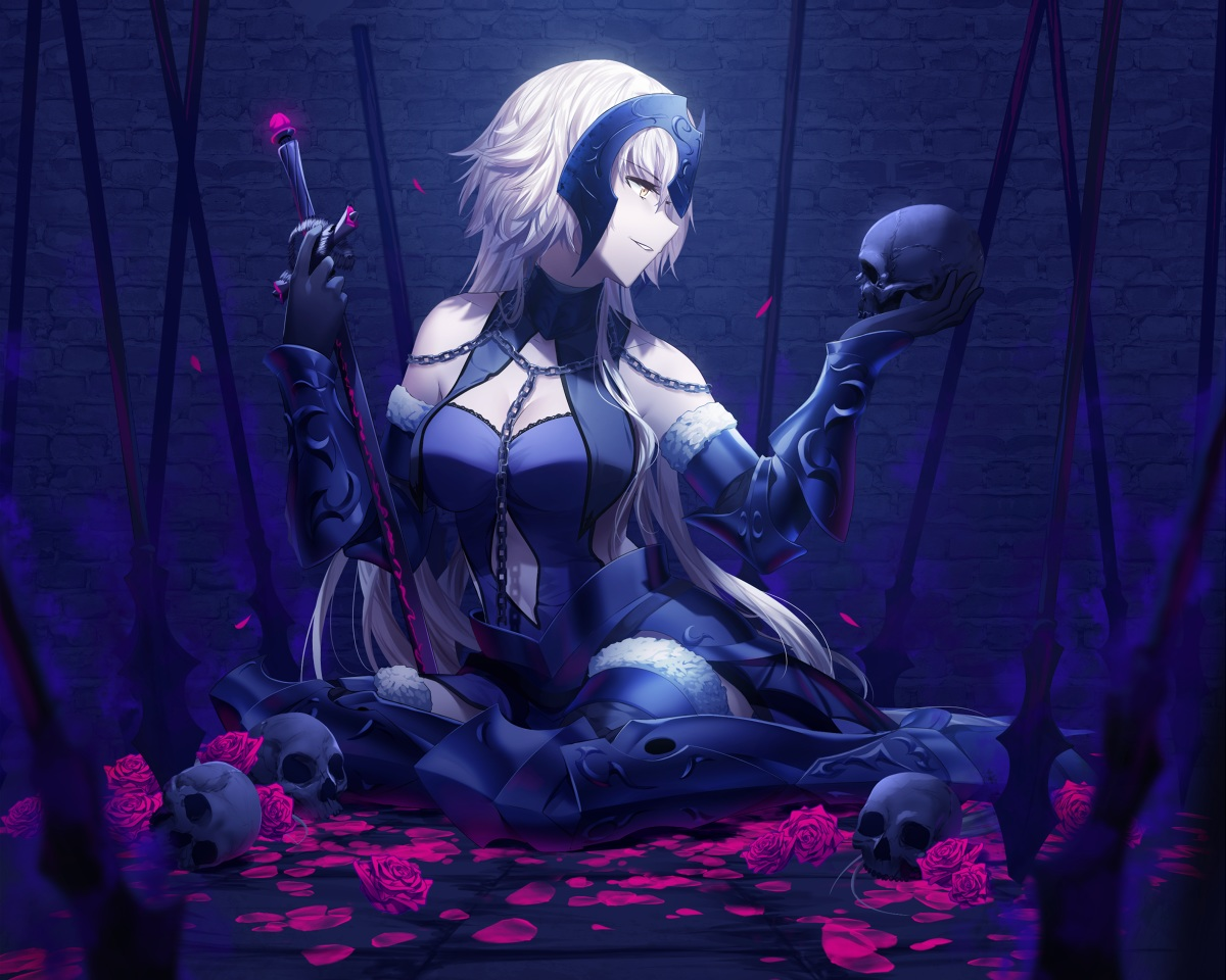 armor blonde_hair breasts cleavage cropped fate/grand_order fate_(series) flowers jeanne_d'arc_alter jeanne_d'arc_(fate) long_hair petals rimuu rose skull sword weapon yellow_eyes