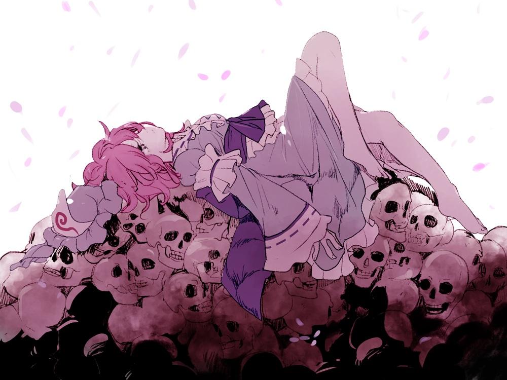barefoot dress hat joniko1110 petals pink_hair polychromatic saigyouji_yuyuko short_hair skull touhou