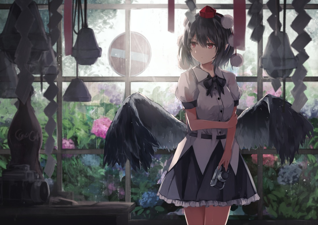 black_hair bow camera rain red_eyes shameimaru_aya short_hair skirt thkani touhou water wings