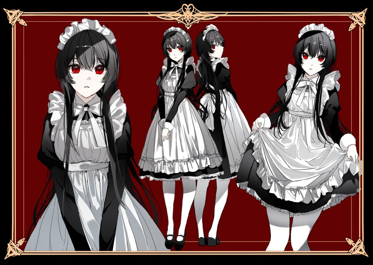 apron black_hair headdress long_hair maid naru_(ul) original pantyhose polychromatic red red_eyes skirt_lift