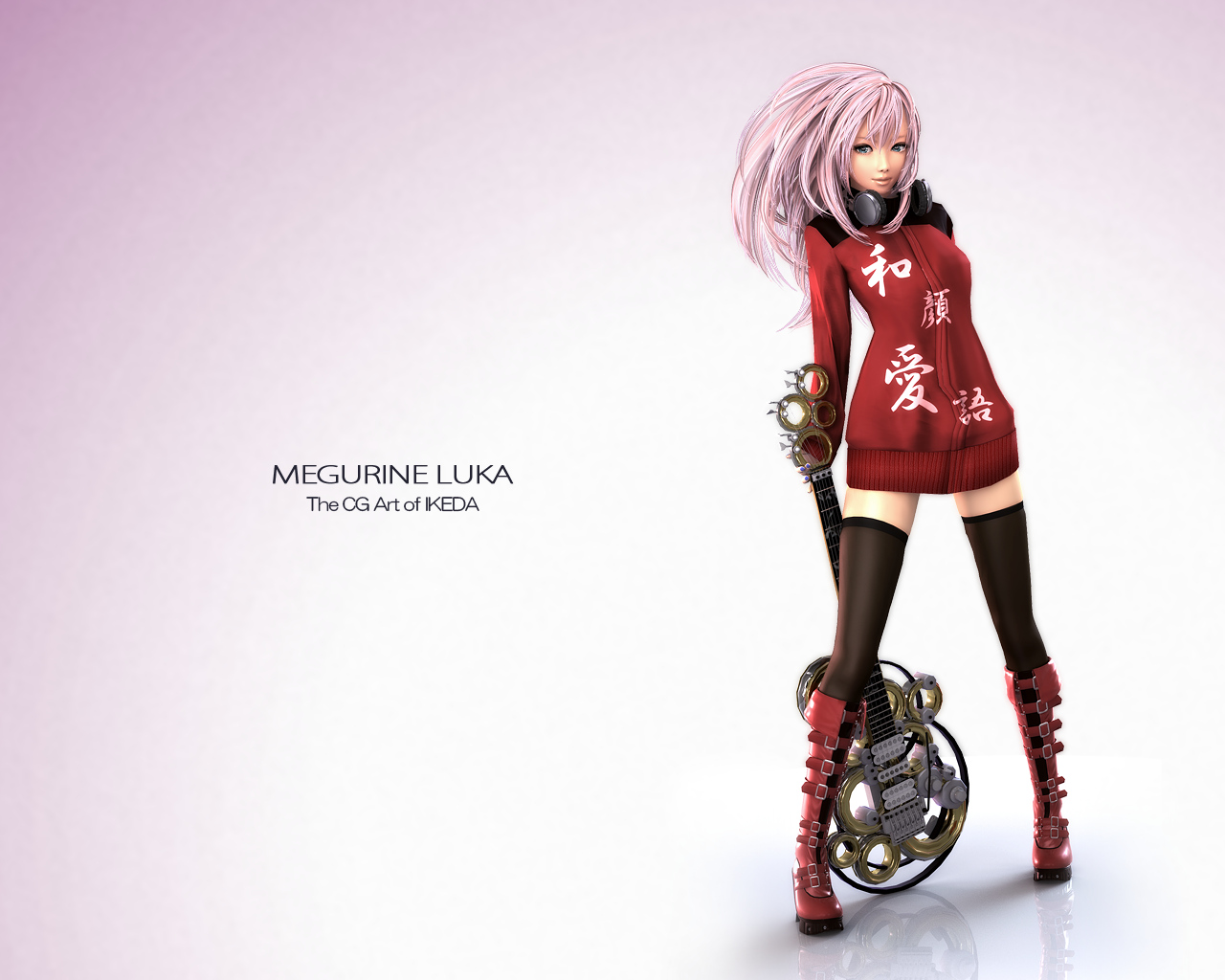 3d blue_eyes boots guitar headphones ikedan instrument megurine_luka pink_hair thighhighs vocaloid