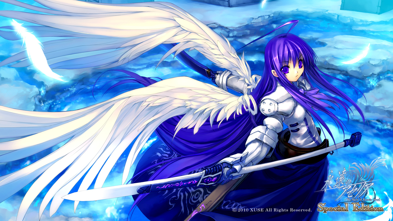 armor aselia eien_no_aselia purple_eyes purple_hair sword weapon wings