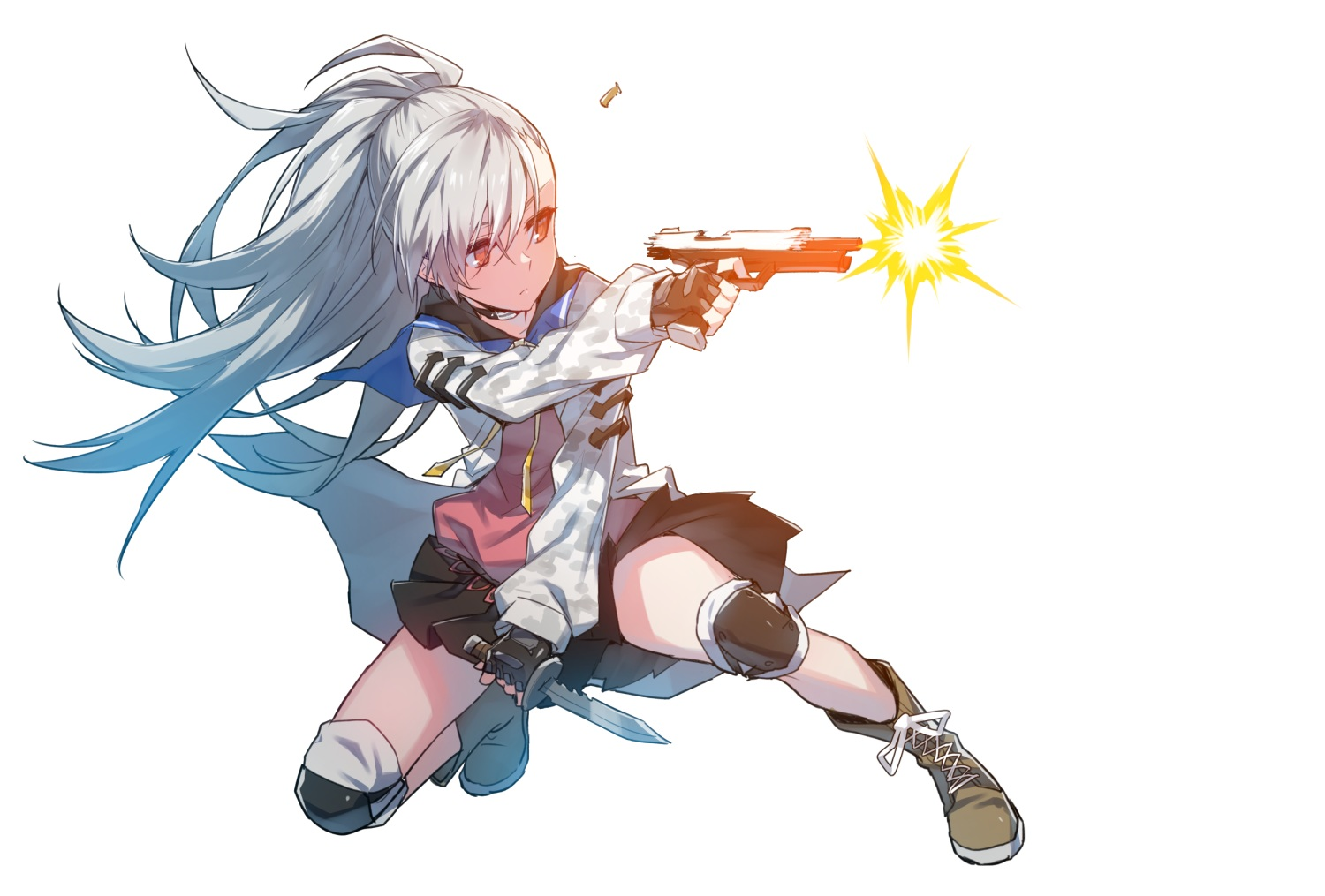 boots choker closers gloves gray_hair gun knife long_hair ponytail red_eyes school_uniform supernew tina_(closers) weapon white