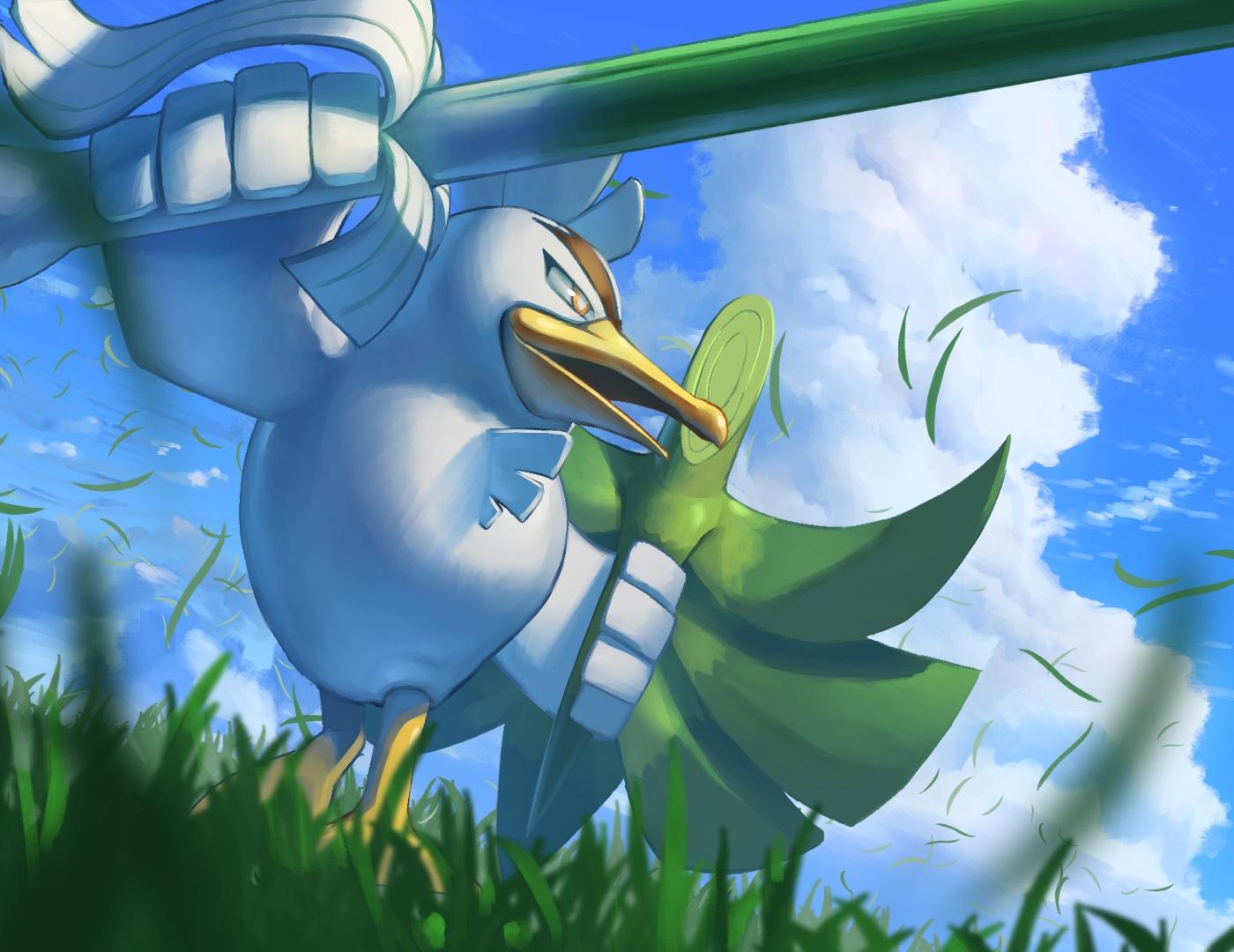 animal bird close clouds grass leek nobody pokemon sirfetch'd sky spareribs sword weapon