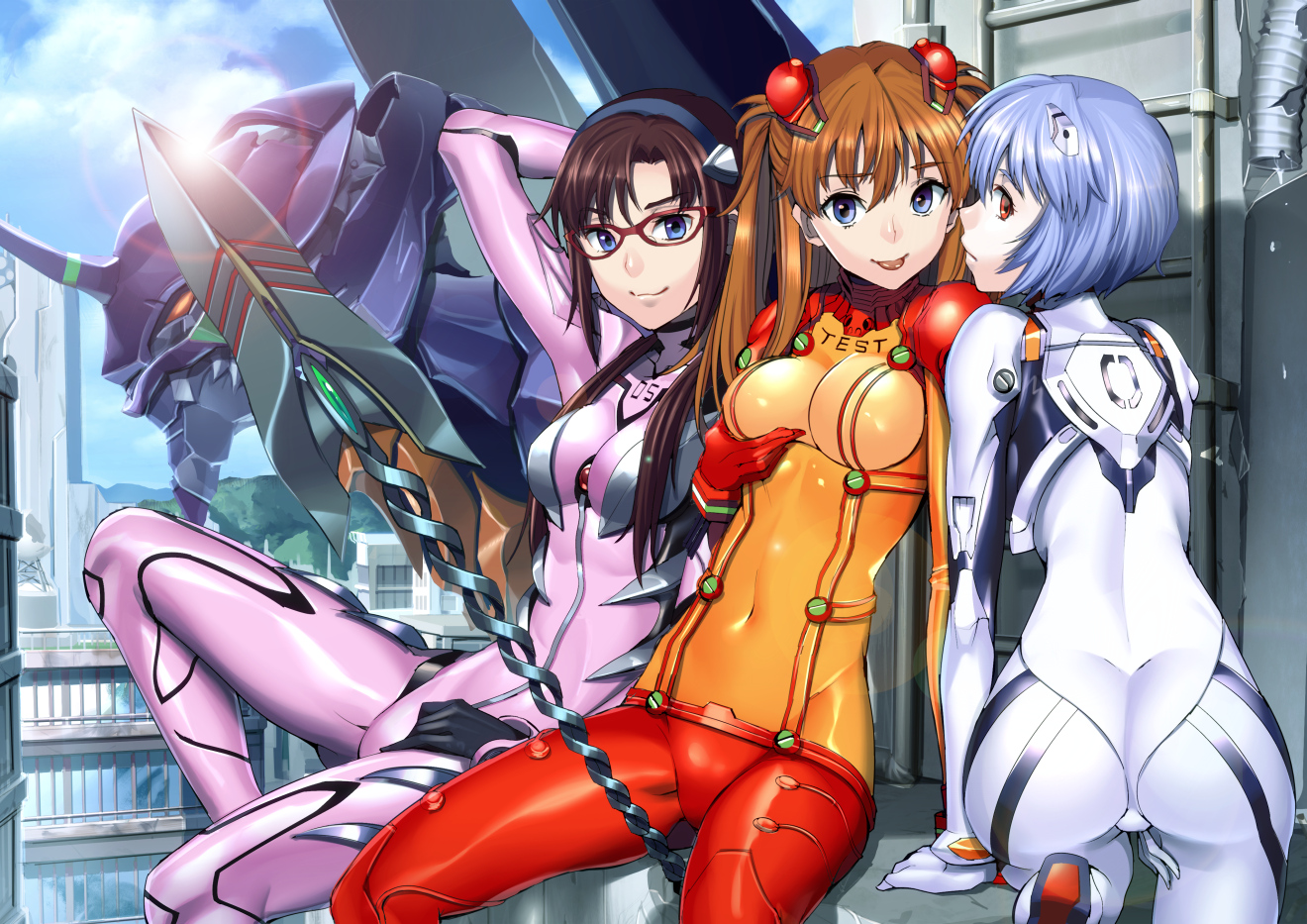 ass ayanami_rei bodysuit fukurou_tei makinami_mari_illustrious mecha neon_genesis_evangelion skintight soryu_asuka_langley weapon