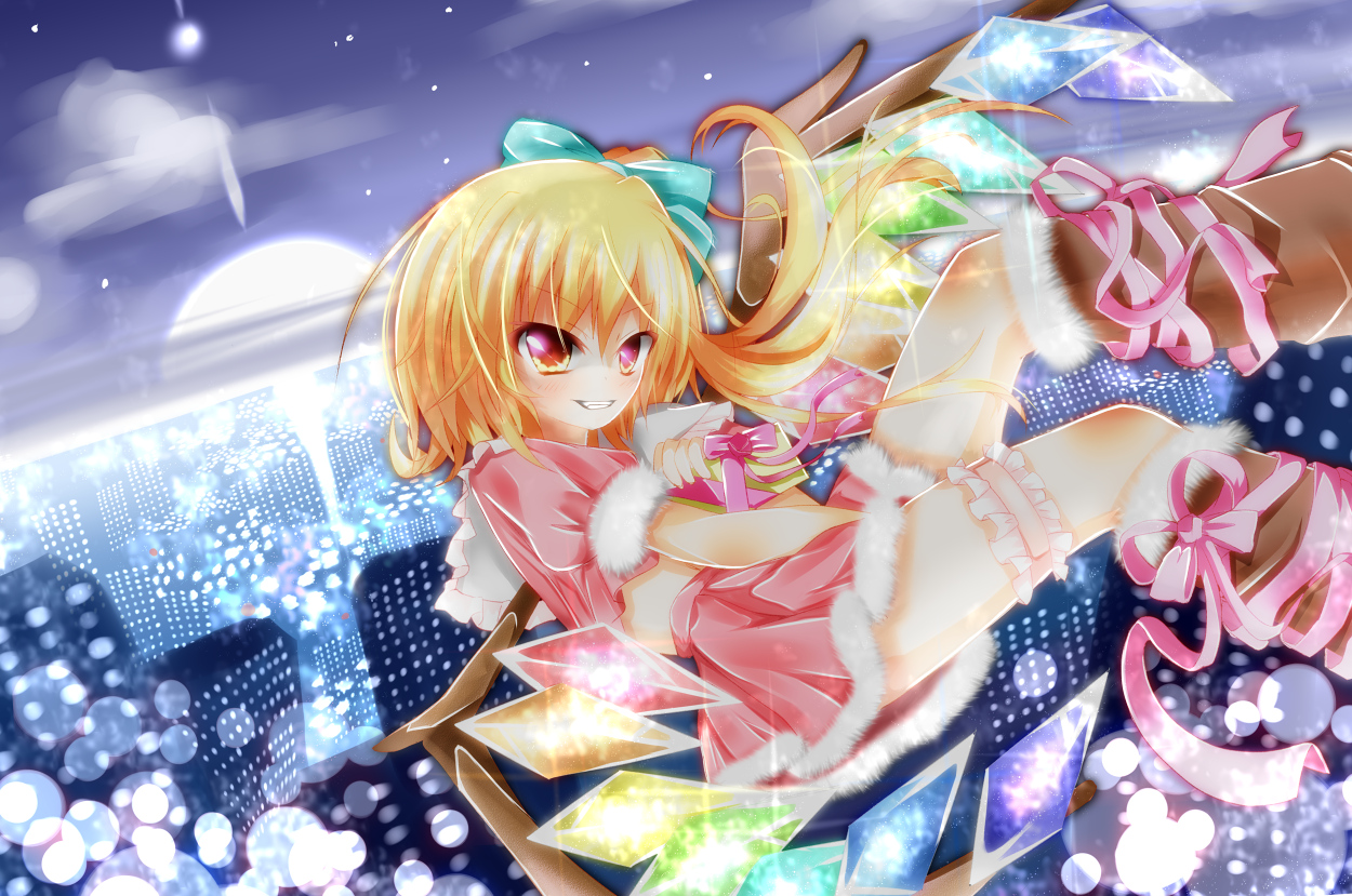blonde_hair bow christmas city flandre_scarlet pink_eyes ponytail ribbons short_hair skirt sky stars sunset touhou upskirt wings yuimari