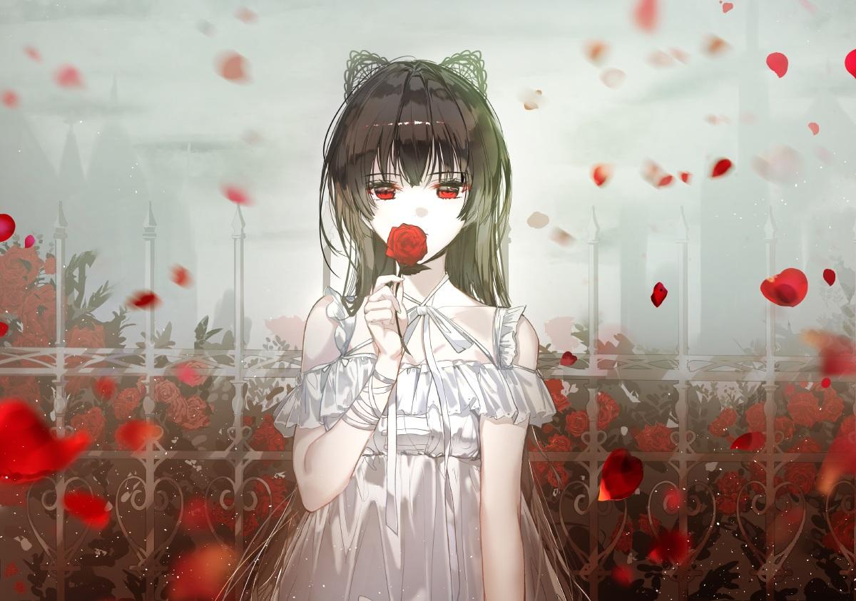 aliasing animal_ears brown_hair dress flowers long_hair naru_(ul) original petals red_eyes ribbons rose summer_dress