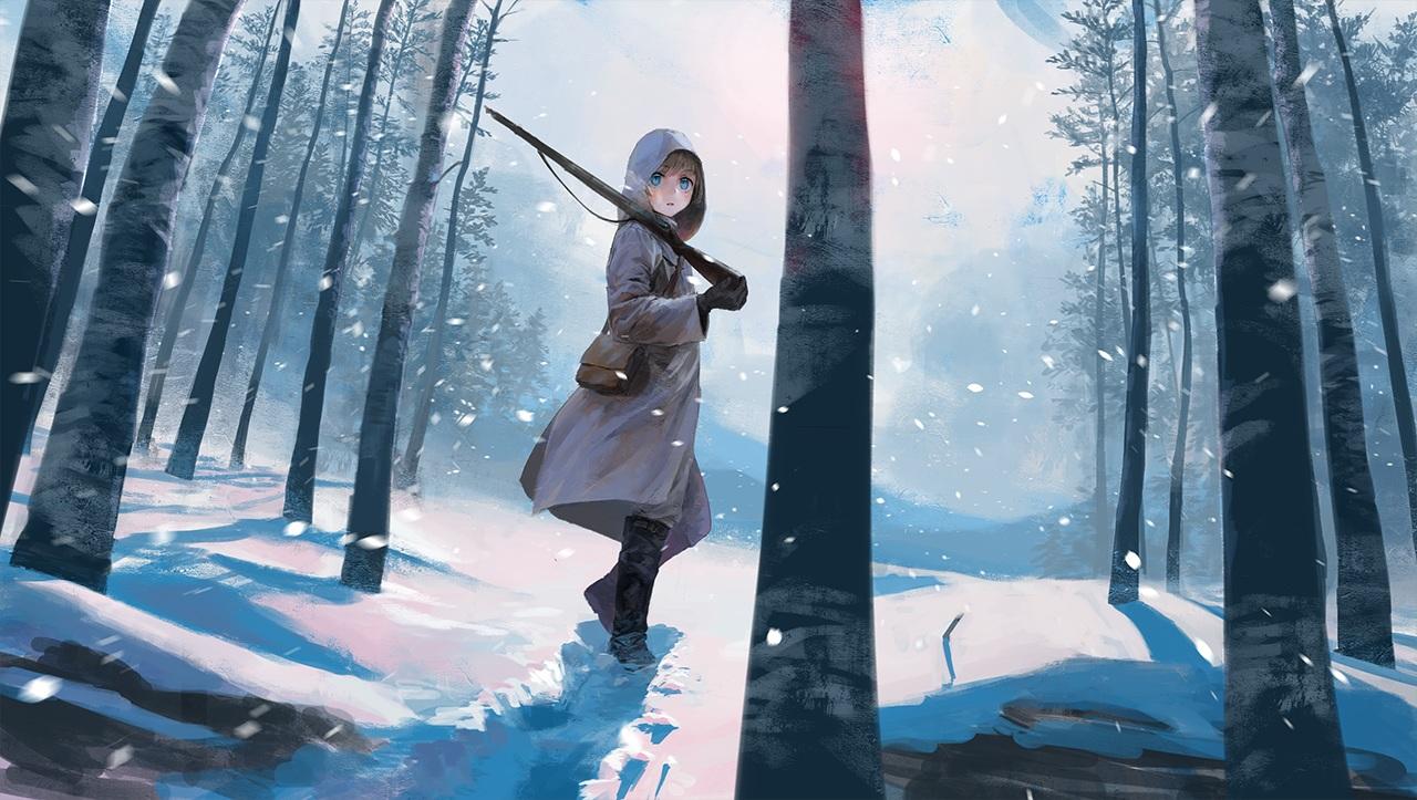 aqua_eyes boots brown_hair forest gun hoodie original snow tree treeware weapon winter