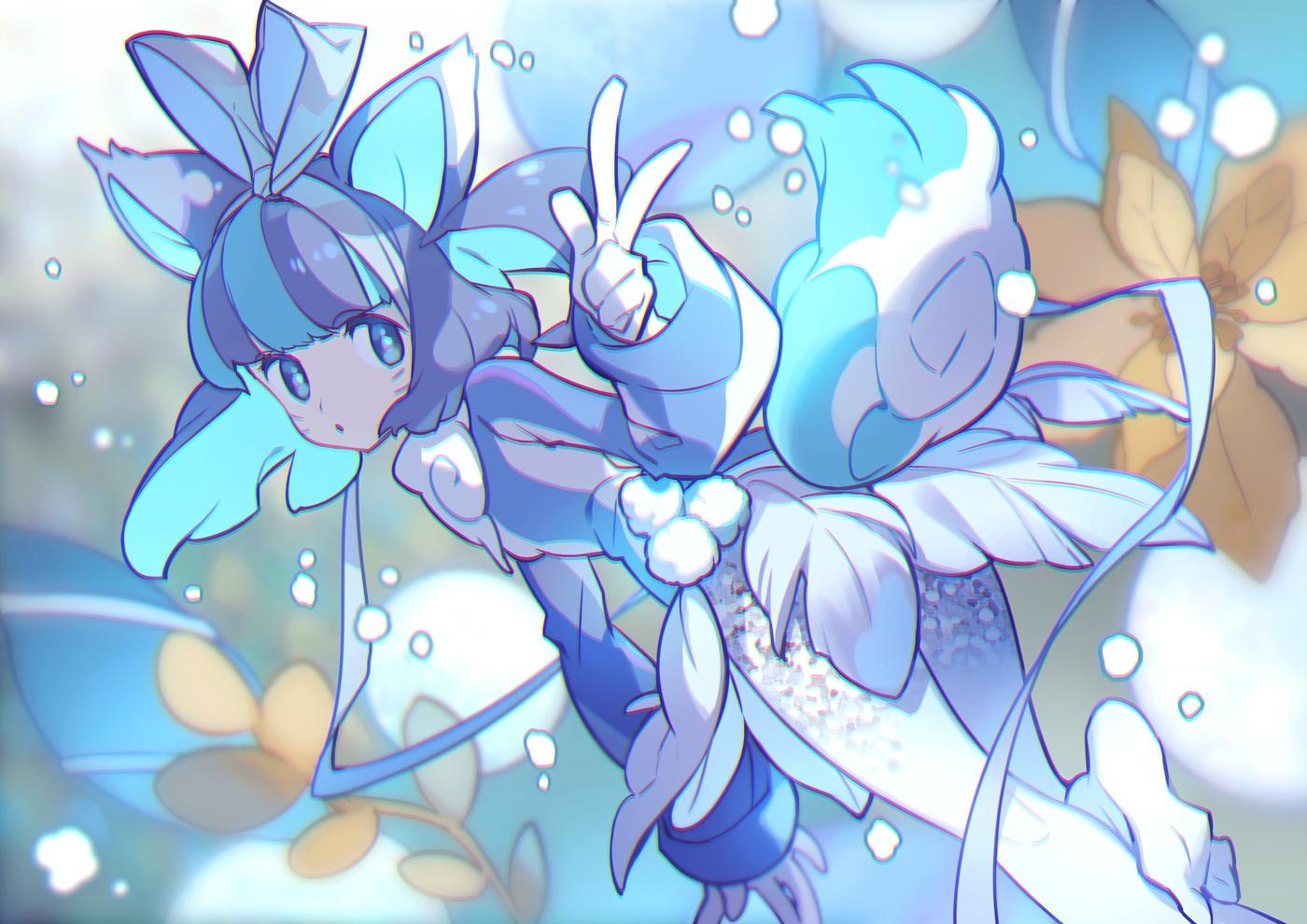 animal_ears blue_eyes blue_hair bow dress feathers flowers foxgirl gloves headband lee_hyeseung original polychromatic short_hair snow tail