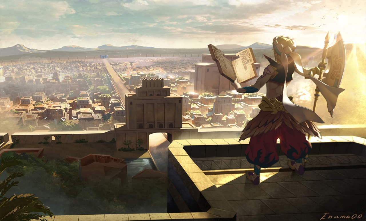all_male aora blonde_hair book building city clouds fate/grand_order fate_(series) gilgamesh male scenic short_hair signed sky weapon