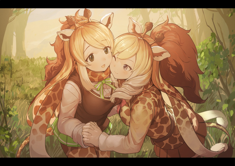 2girls animal_ears anthropomorphism blonde_hair bow brown_eyes cape_giraffe_(kemono_friends) kemono_friends koruse long_hair pantyhose ponytail rothschild's_giraffe_(kemono_friends) scarf seifuku skirt tail wink