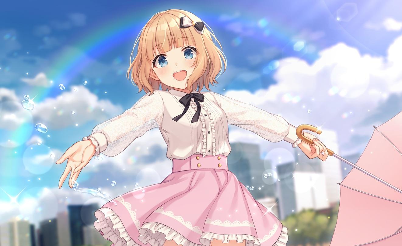 blonde_hair blue_eyes bow building city clouds dress nagisa3710 original rainbow shirt short_hair skirt umbrella water