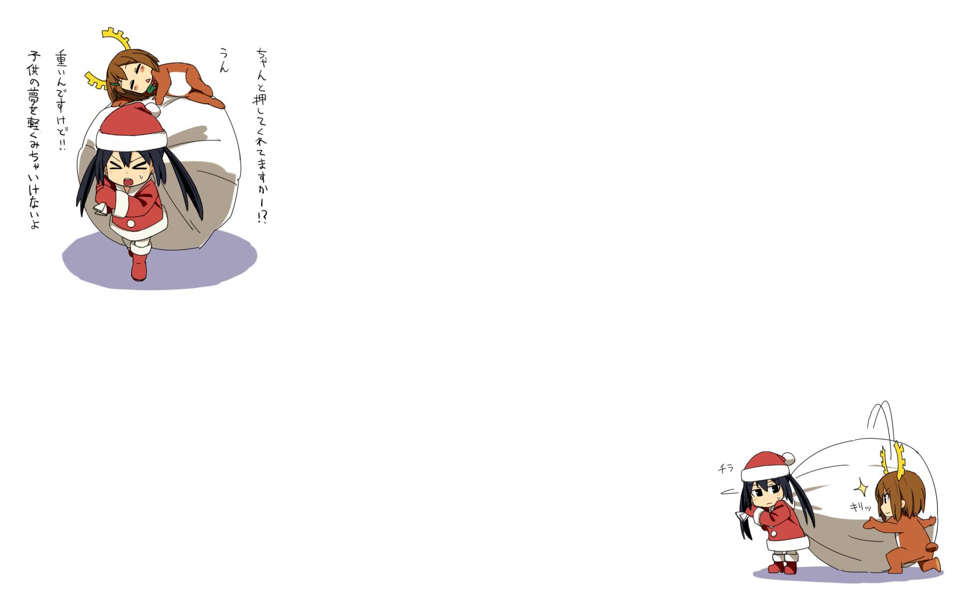 2girls christmas hat hirasawa_yui iefukurou k-on! nakano_azusa white