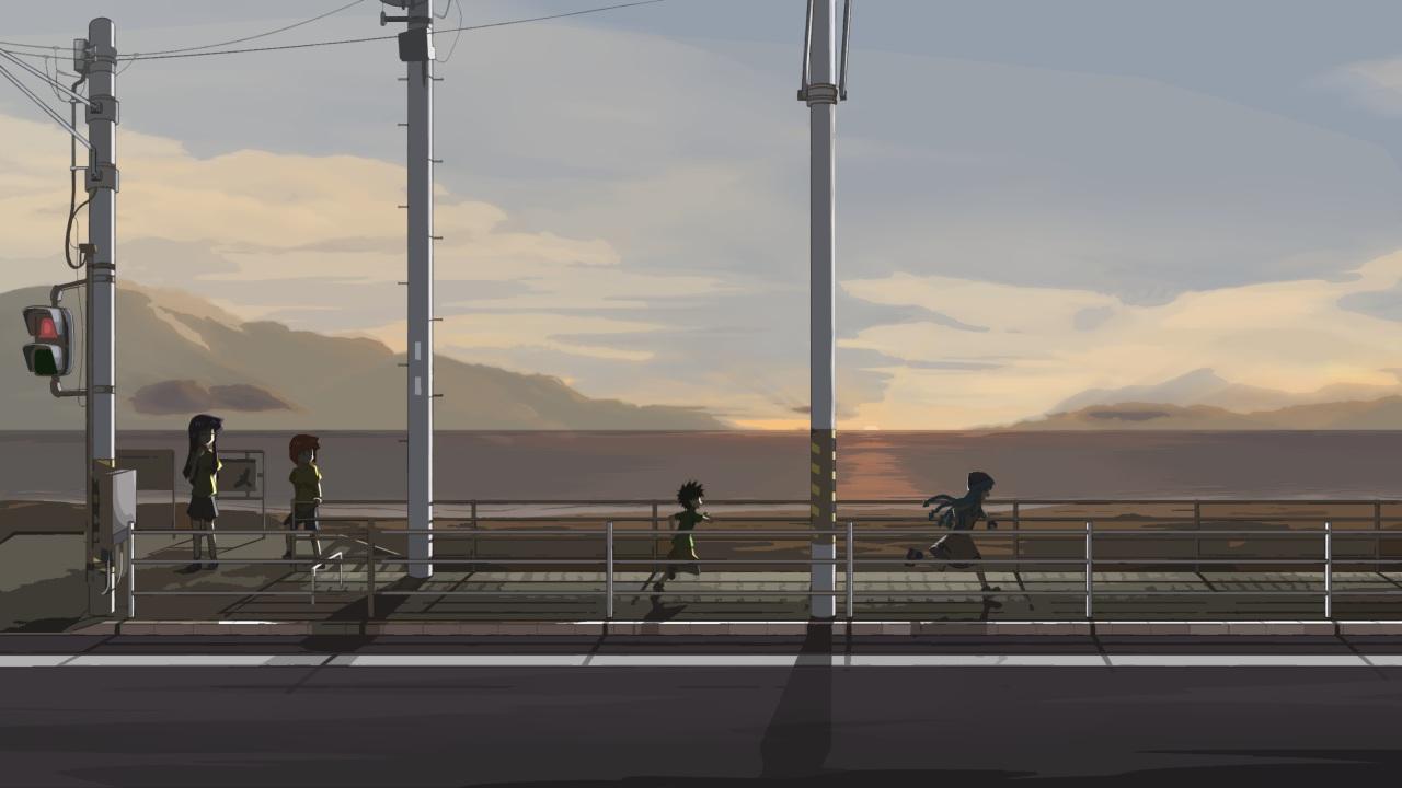 aizawa_chizuru aizawa_eiko aizawa_takeru blue_hair brown_hair clouds ikamusume kaka_(kirby126) loli male scenic shinryaku!_ikamusume sky sunset tentacles
