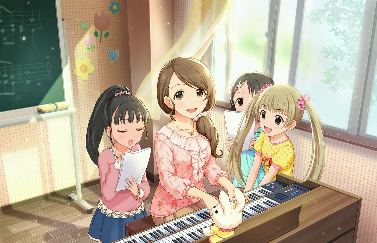annin_doufu black_hair brown_eyes dress fukuyama_mai group idolmaster idolmaster_cinderella_girls idolmaster_cinderella_girls_starlight_stage instrument loli long_hair mochida_arisa music necklace paper piano ponytail sasaki_chie skirt twintails yokoyama_chika