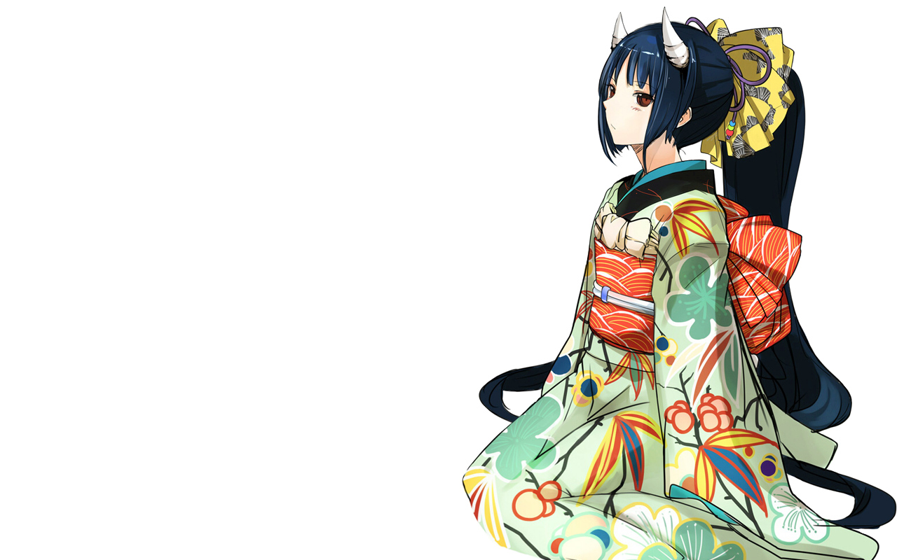 blue_hair bow brown_eyes horns japanese_clothes kimono long_hair original pupps white