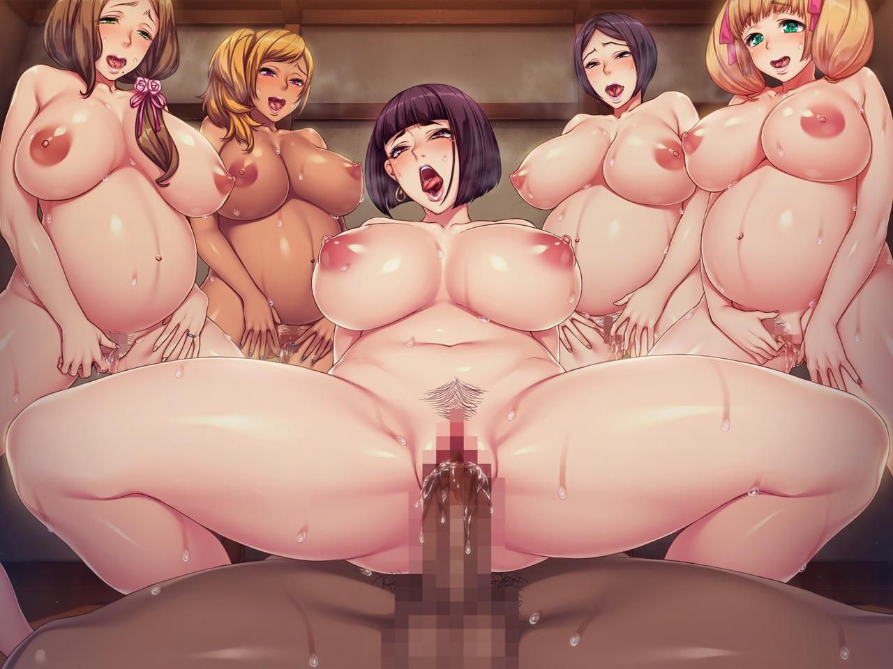 breasts censored game_cg group harem hitomi_kiriko itsuki_shima nishiki_marina nude orc_soft pregnant pubic_hair sakura_rui sex shikijou_kyoudan sumeragi_kohaku yoshino_ayaka
