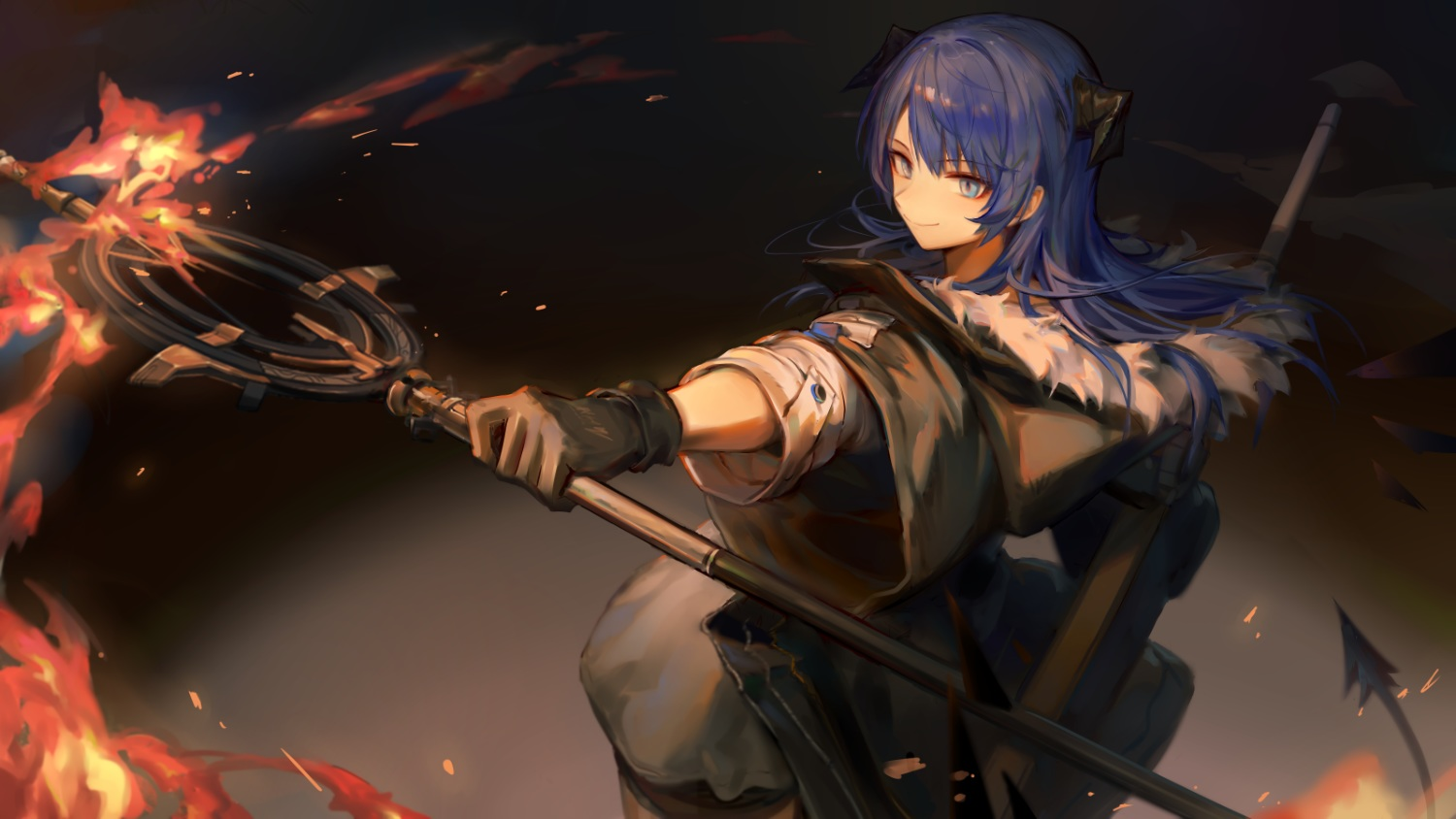 arknights blue_eyes blue_hair fire game_cg gloves horns huanxiang_heitu long_hair mostima_(arknights) staff tail