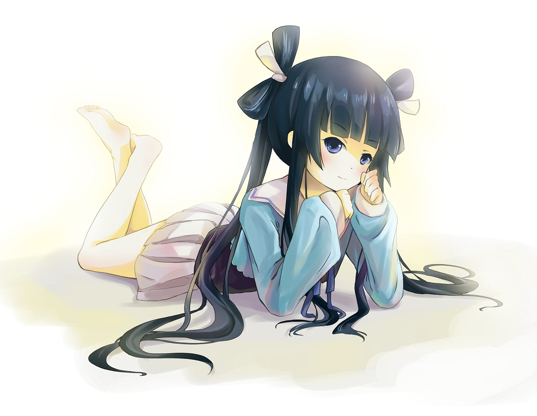 barefoot black_hair blue_eyes blush long_hair ookami-san_to_shichinin_no_nakama-tachi ryuuguu_otohime seifuku skirt twintails