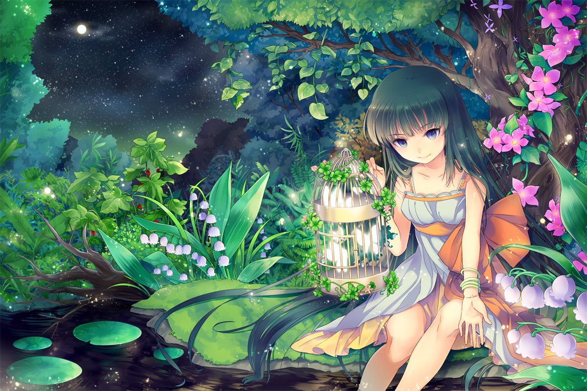 black_hair blue_eyes butterfly cage dress flowers gejang jpeg_artifacts long_hair moon night original tree water