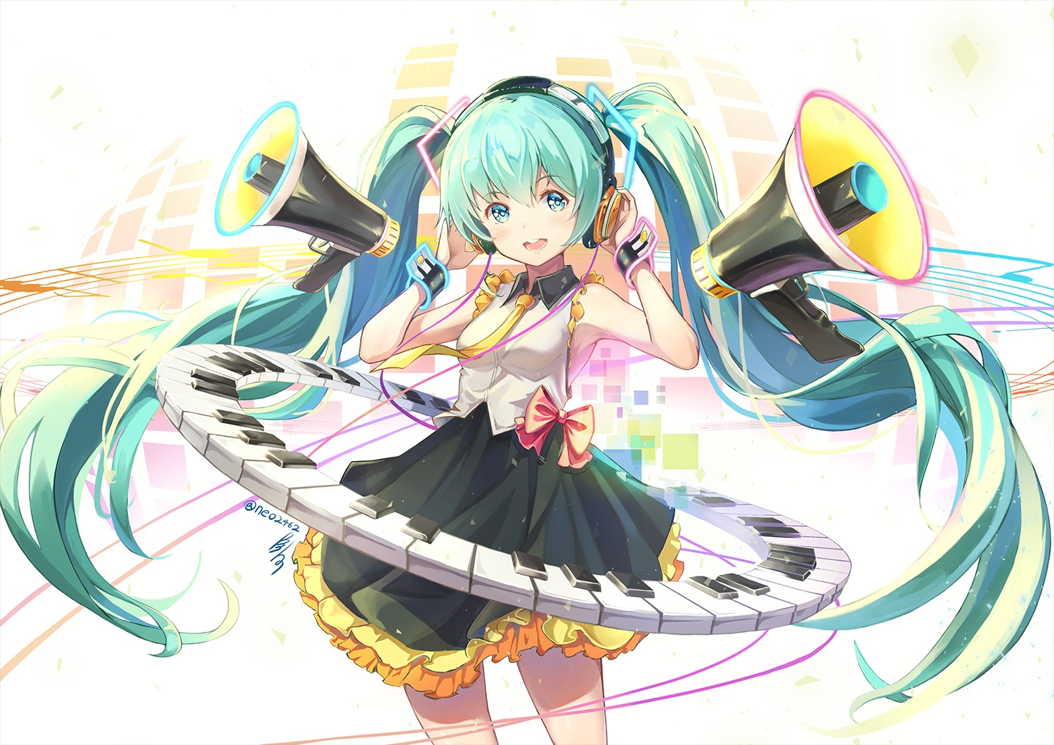 bow green_eyes green_hair hatsune_miku headphones hon_(neo2462) instrument long_hair piano signed skirt twintails vocaloid wristwear