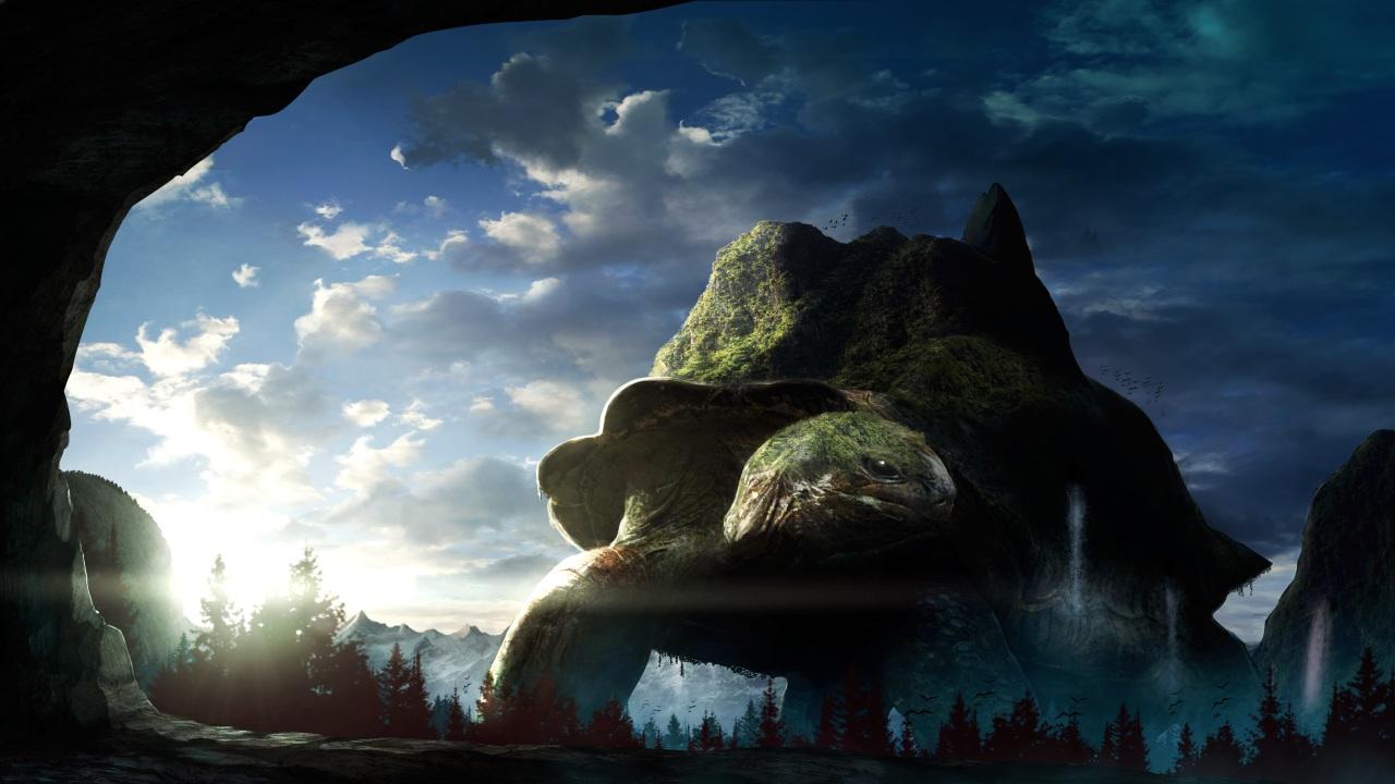 animal clouds forest migataseizixyu nobody original scenic sky tree turtle water waterfall