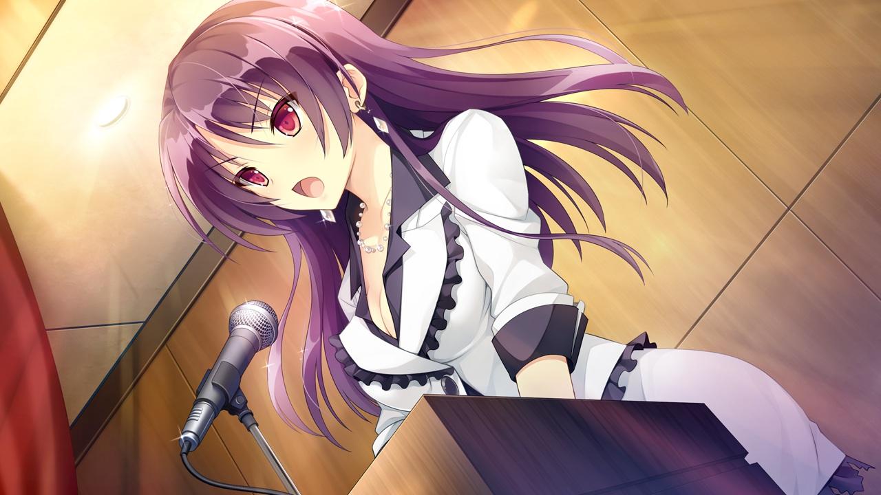 breasts cleavage fujita_konomi game_cg hearts_(company) koi_saku_miyako_ni_ai_no_yakusoku_wo_~annaffiare~ long_hair microphone natsume_eri necklace pink_eyes purple_hair