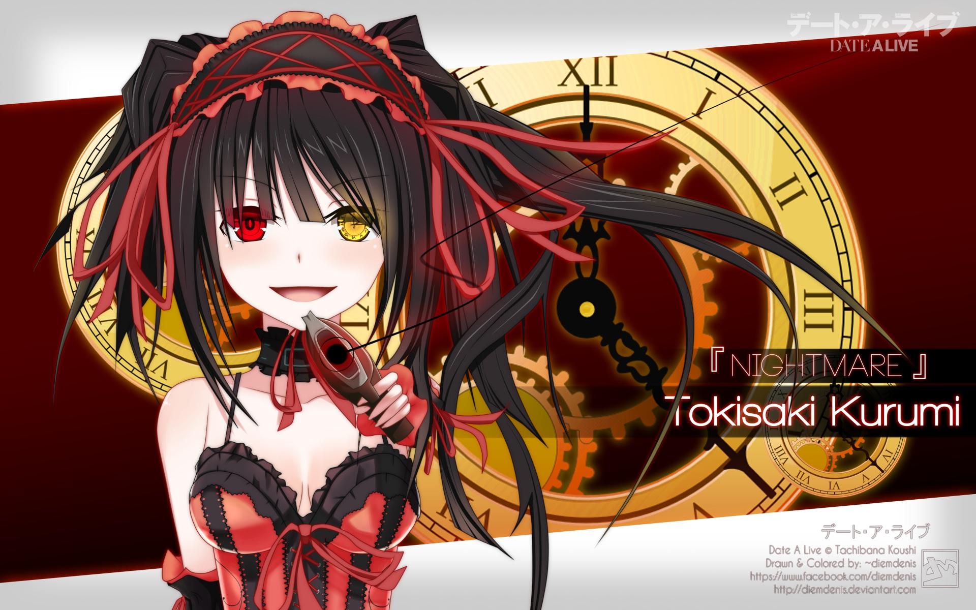 Bicolored Eyes Black Hair Date A Live Gun Tokisaki Kurumi Weapon