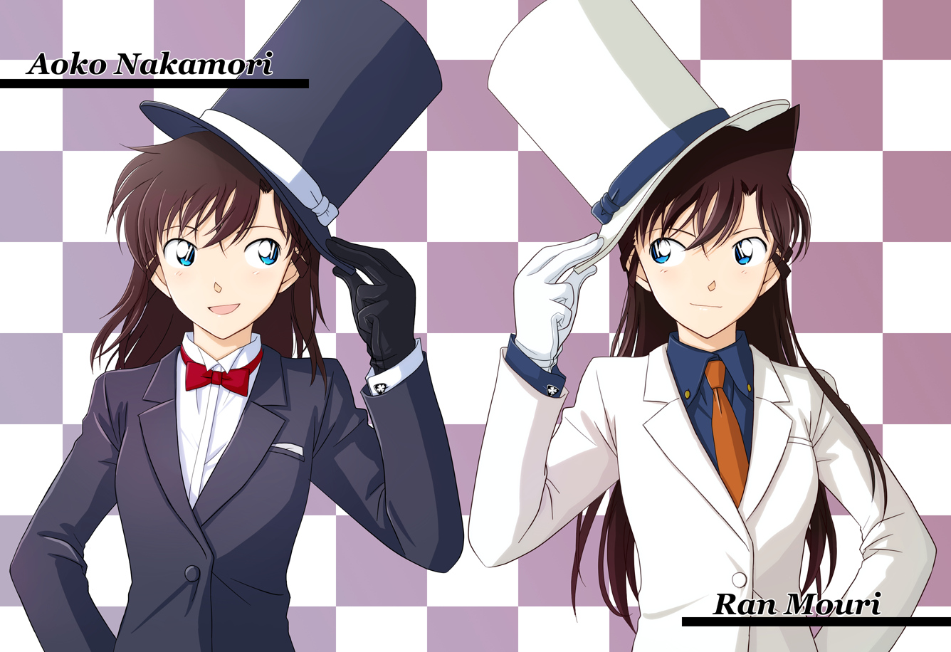 blue_eyes bow brown_hair detective_conan gloves hat long_hair magic_kaito mouri_ran nakamori_aoko suit tie