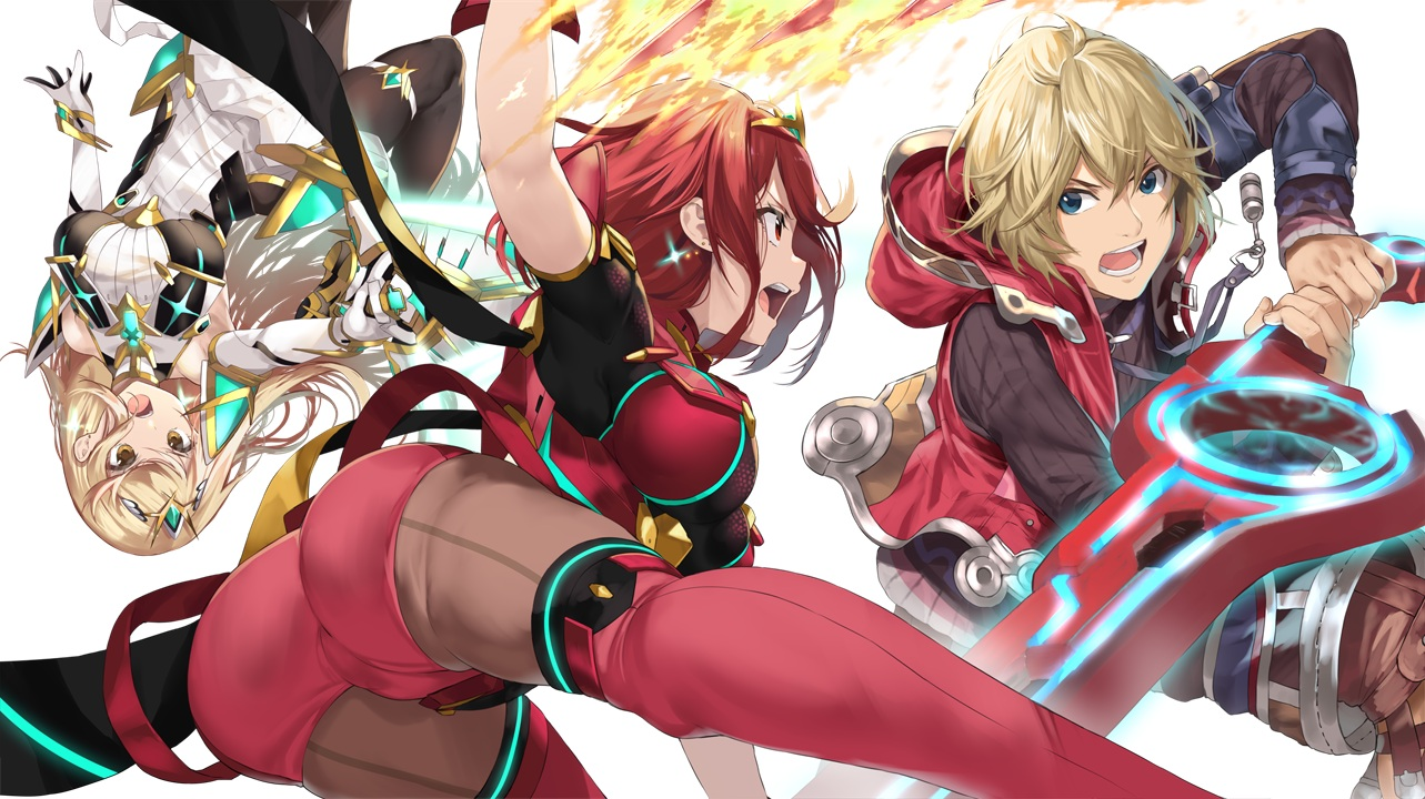 ass blonde_hair blue_eyes boots brown_eyes dress elbow_gloves fire gloves hikari_(xenoblade) homura_(xenoblade) hoodie long_hair magic male pantyhose red_eyes red_hair short_hair shorts shulk super_smash_bros. sword thighhighs weapon xenoblade yappen