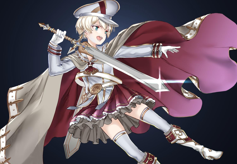 anthropomorphism aqua_eyes blonde_hair boots cape gloves hat kantai_collection ruisento short_hair skirt sword thighhighs weapon z1_leberecht_maass_(kancolle)