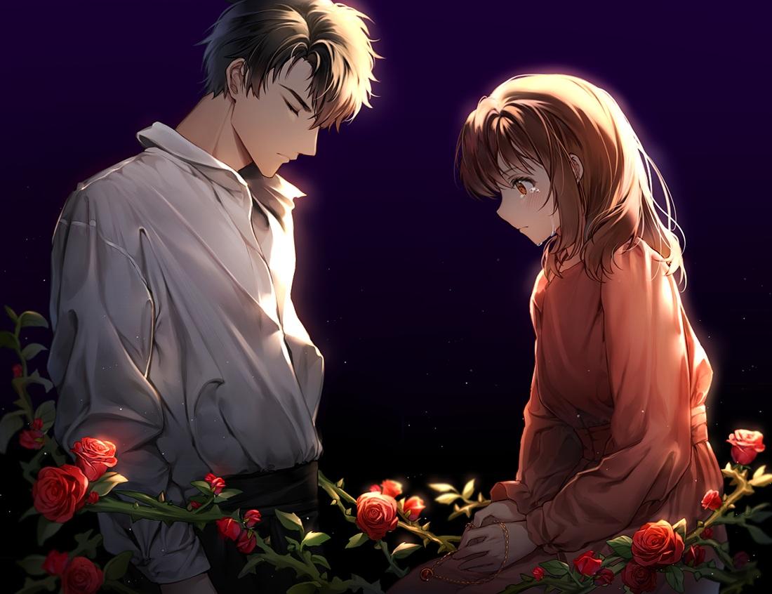 black_hair brown_eyes brown_hair crying flowers iji_(u_mayday) li_zeyan love_and_producer male protagonist_(love_and_producer) rose shirt short_hair tears