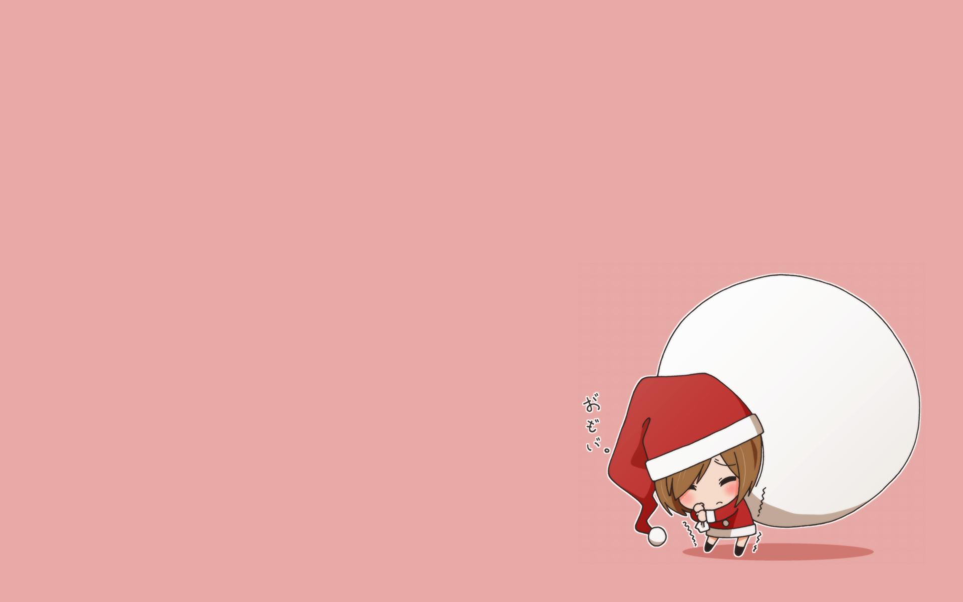 brown_hair chibi christmas hat kinoshita_shizuka k-on! landolt_tamaki pink santa_costume santa_hat short_hair