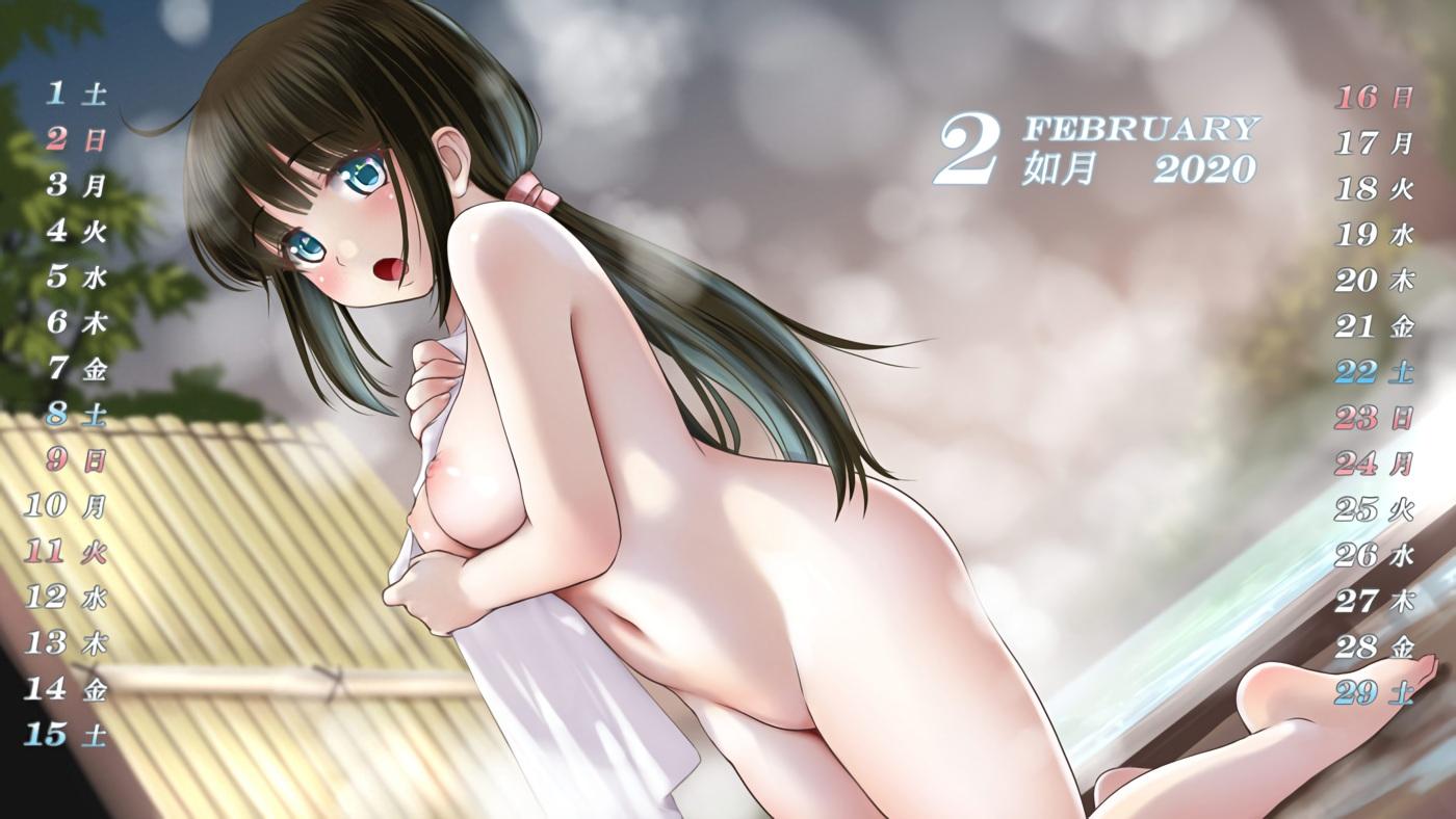 barefoot black_hair breasts calendar green_eyes kozue_akari long_hair nipples nude onsen original ponytail towel waifu2x